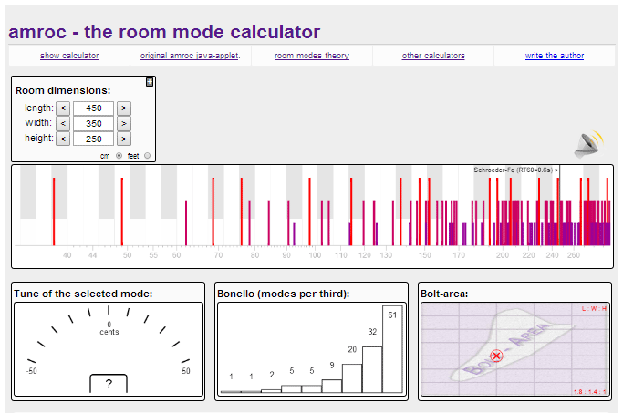 screenshot of the amroc room mode calculator
